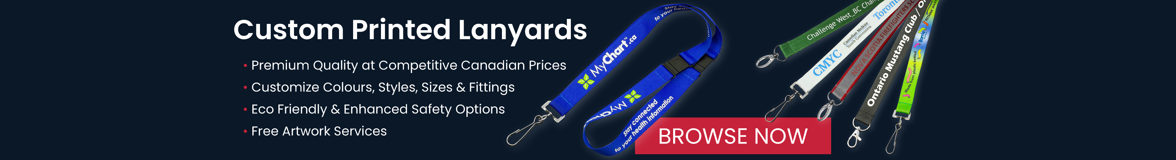 Custom Printed Lanyards – Click to browse dozens of styles, colours and print options!